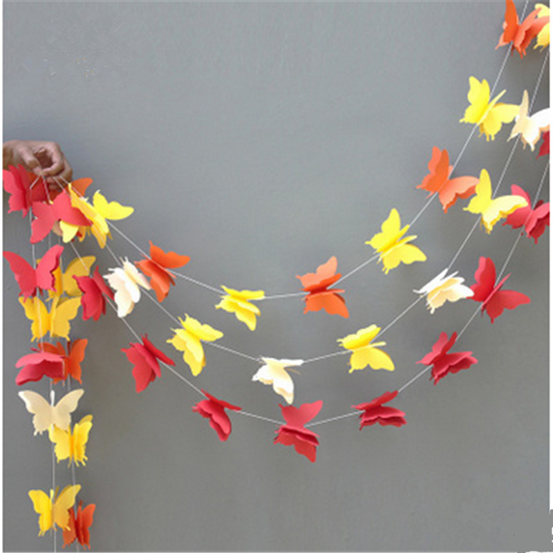 1pcs 2.8m butterfly balloon Paper Garlands colorful Christmas Wedding Party Banner Hanging Paper Garland Room Decoration -5z(China (Mainland))