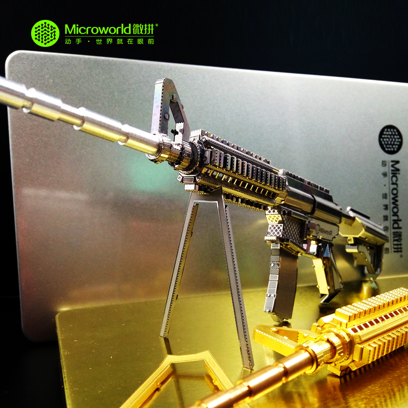 Original Microworld M4A8 CARBINE gun puzzle 3D Metal assembly model 2 sheets Creative intelligence toy Classic collection(China (Mainland))
