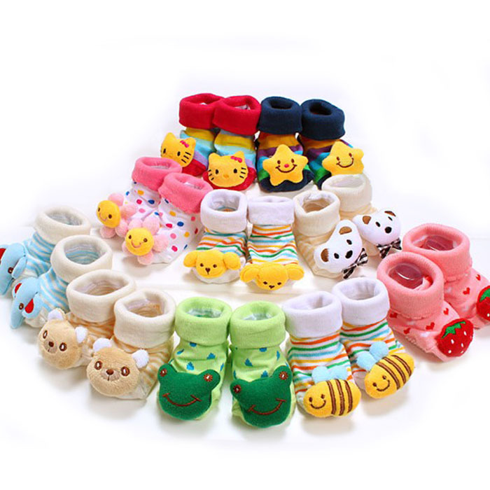 1 Pair Baby Anti Slip Newborn 0-18Month Cotton Lovely Cute Shoes Animal Cartoon Slippers Boots Boy Girl Unisex Skid Socks(China (Mainland))