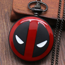 Cool Fashion Deadpool Theme Fob Pocket Watch With Black Chian Necklace Best Gift To Children(China (Mainland))