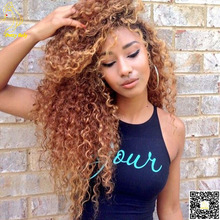 Honey Blonde Full Lace Human Hair Wigs Virgin Brazilian Kinky Curly Lace Front Wig Glueless Full Lace Wigs Human Hair Color #30(China (Mainland))