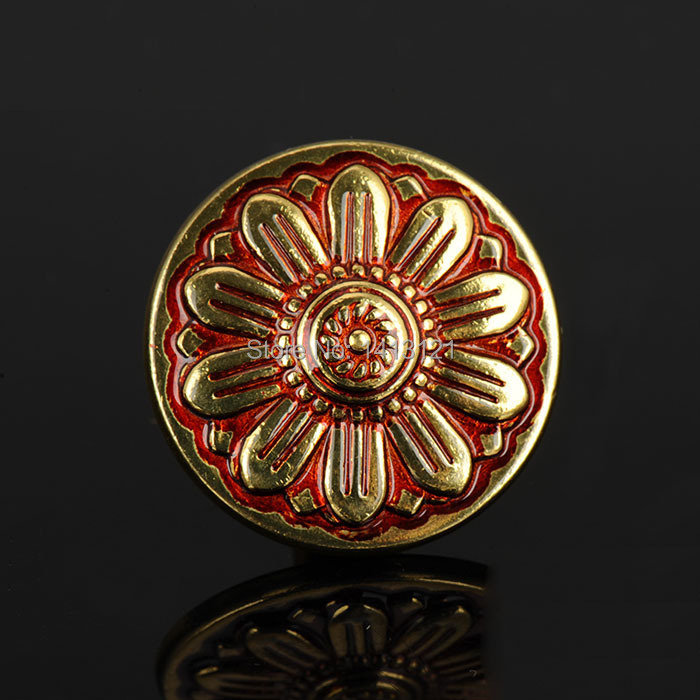 34mm brass handle furniture hardware part household European carved drawer knob Shoe pull wardrobe cabinet - Stone Household Living Museum store