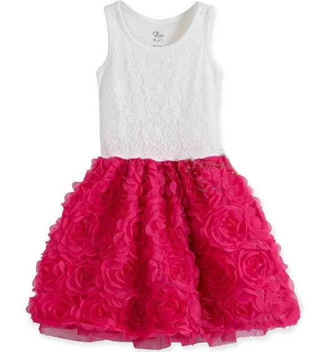 Children Clothing 2016 Summer Girl Dresses Stereo Rose Flower Lace Patchwork Fashion Sundress 4-14T 1220<br>