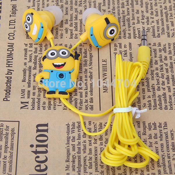 2016 Anime Despicable Me Minions earphone headphone fone de ouvido Cute Earphone music In Ear headphones