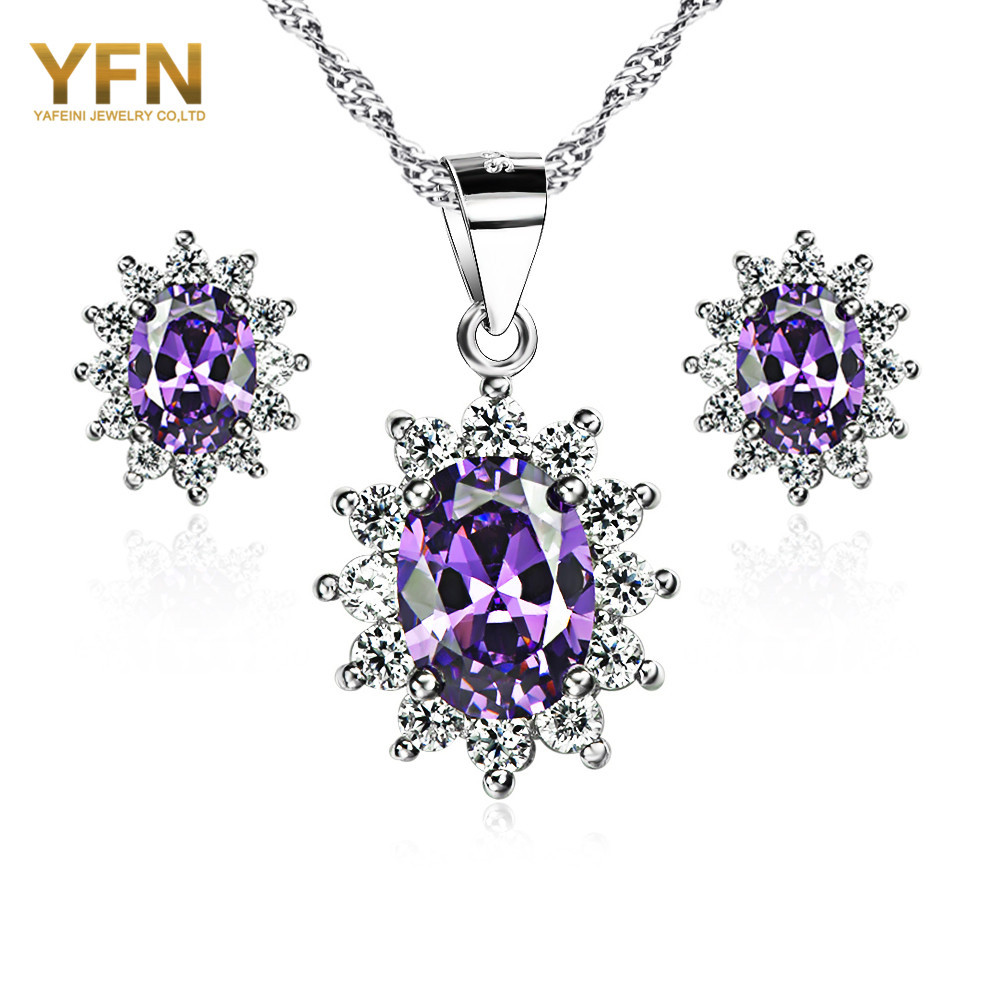 Genuine 925 Sterling Silver Amethyst CZ Wedding Jewelry Set Fashion Jewelry Silver Pendant Necklace and Earrings Set For Women(China (Mainland))