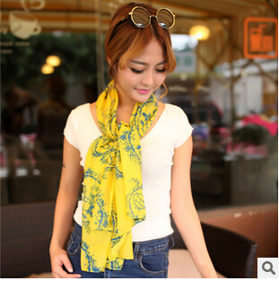 New Fashion Korean Autumn And Winter Female Personality Beautiful Retro Long Print Carriage Scarf S26(China (Mainland))