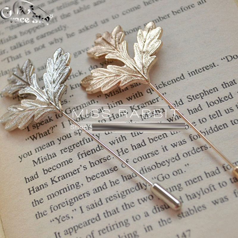 2016 Fashion Summer Jewelry Women Broaches 18K Gold Silver Plated Leaf Men Lapel Flower Safety Pin Wedding Brooches For Women(China (Mainland))