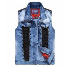 Brand New 2016 Men's Denim Vest PU Leather Patchwork Line Jeans Cowboy Vest Sleeveless Jacket Veste Homme Plus Size L-2XL(China (Mainland))
