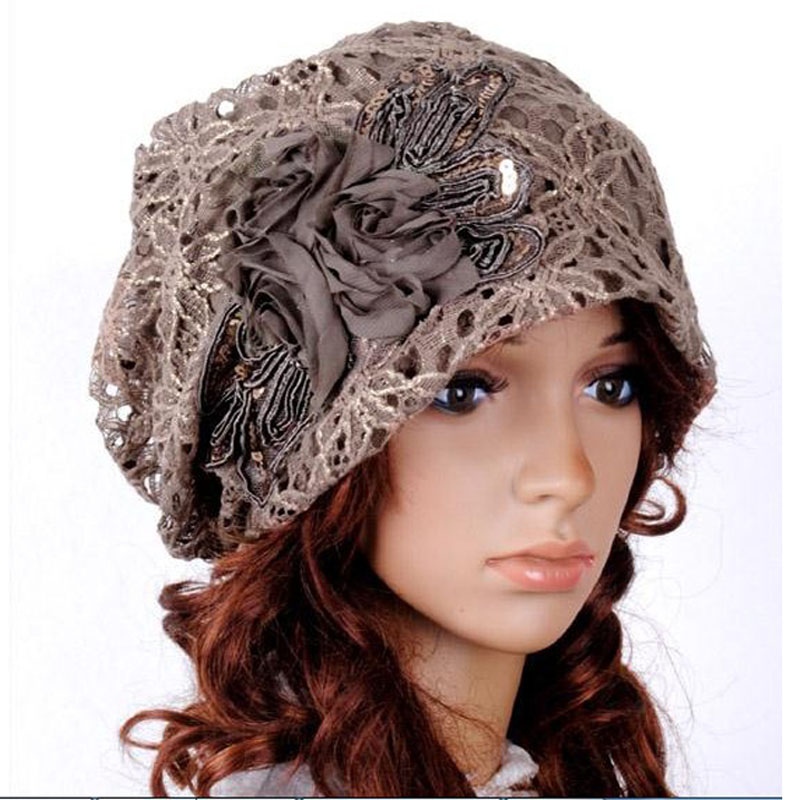 New Fashion Lace Flower Hats Casual Style Cap Elegant Spring and Autumn Vintage Skullies Feminina Beanies Hats for Women 678917(China (Mainland))