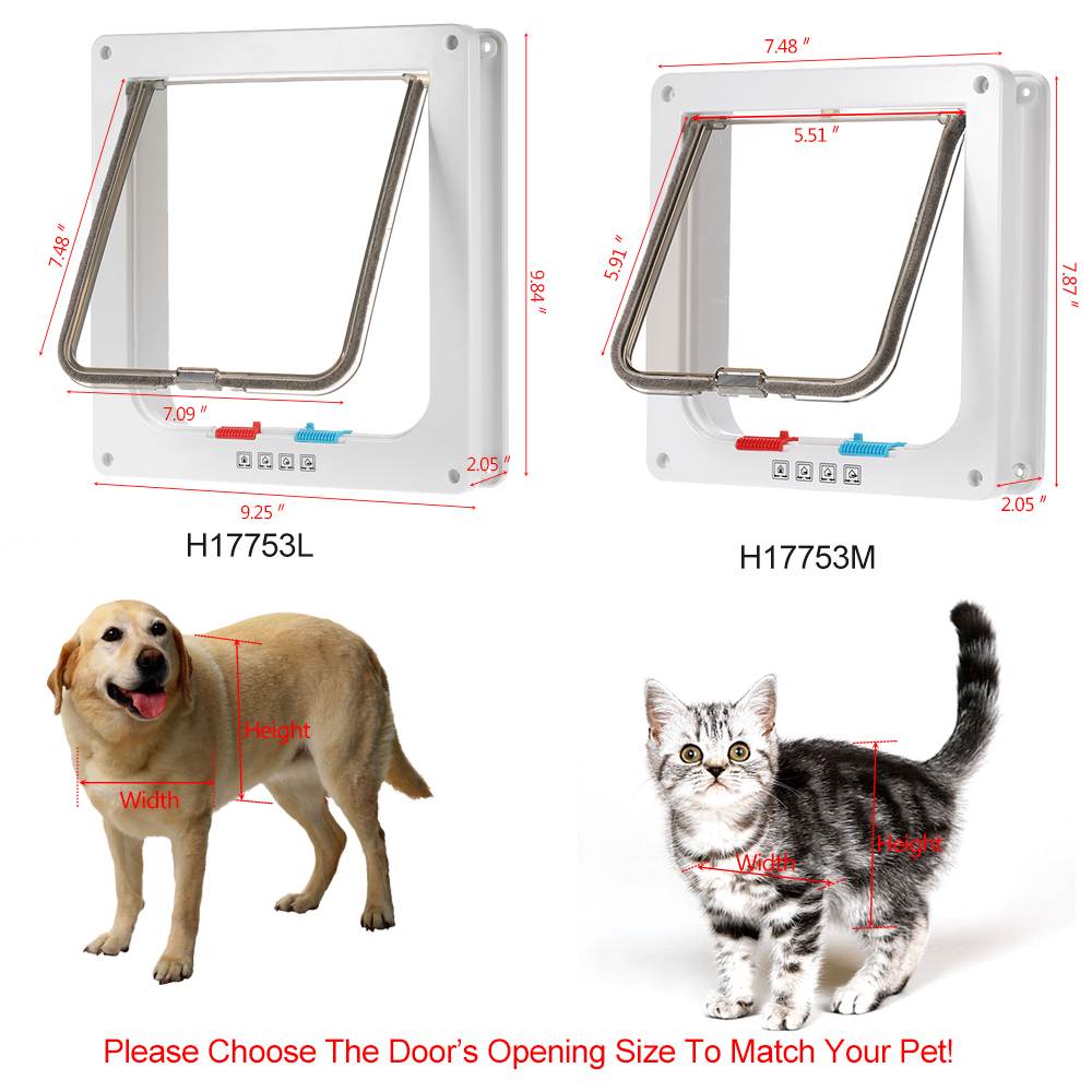 4-Way Locking Pet Door W/ Smart switches keep the house door closed but allow your pet to go in or out freely for Small & middle(China (Mainland))