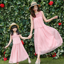 2016 new mom and daughter dress family matching clothes high quality pink flower decoration sleeveless women summer long dresses