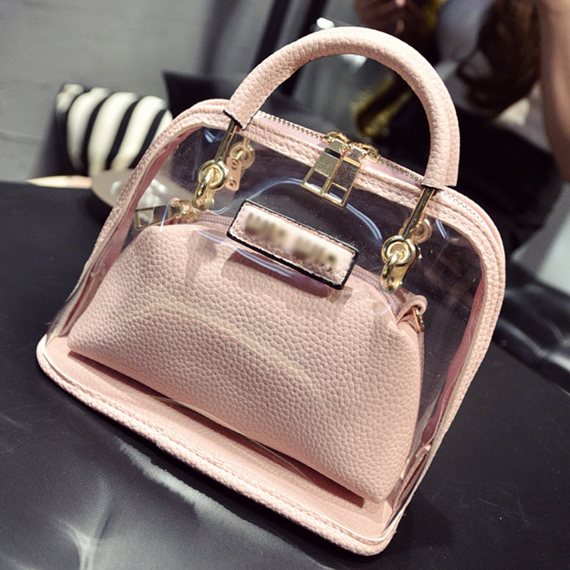 2016 summer candy color women leather PVC purses and handbags chain shell transparent hand bag fashion shoulder beach bags women(China (Mainland))
