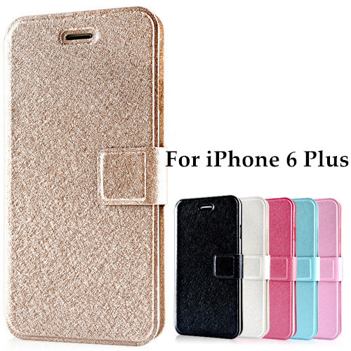 High Quality Silk Pattern PU Flip Cover Case For iPhone 6 Plus 5.5 inch Phone Bags Cases For iPhone6+ With Stand Design Function(China (Mainland))