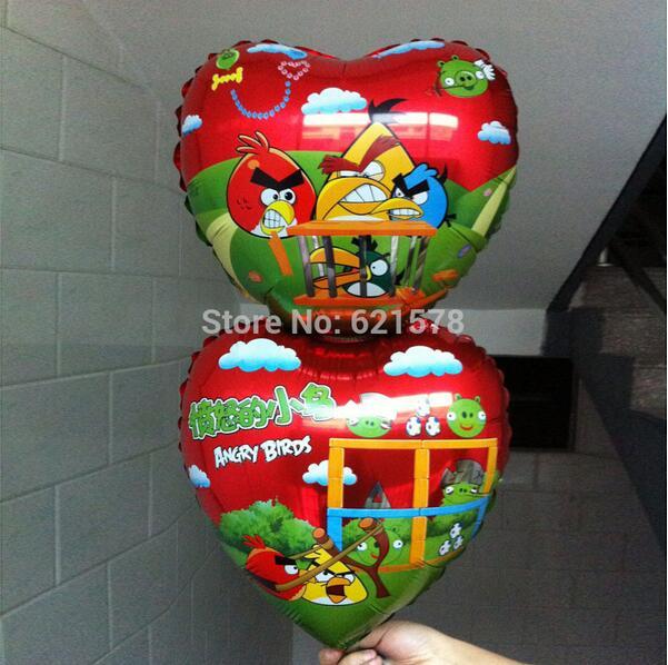 20pcs/lot good quality 37*74cm blue bird helium balloons double heart shape foil balloon for wedding room decoration(China (Mainland))