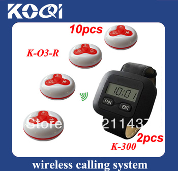 Coffee shop guest paging system of 2pcs waitress pagers K-300 and 10pcs service buzzer O3-R 100% waterproof