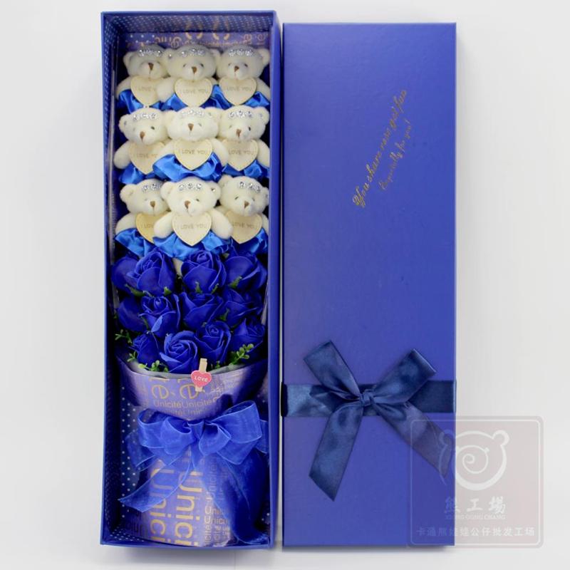 Plush Soft Teddy Bears Bouquet With Box, Stuffed Toys Teddy Dolls Flower, Graduation Birthday Girlfriend Proposed Wedding Gift(China (Mainland))