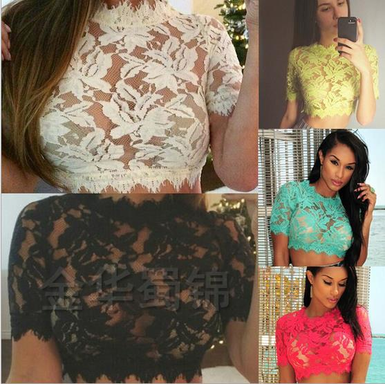 Newest 2015 Women's Lace short-sleeved sexy blouse shirt blouses top quality summer style high-waist flower night club clothing(China (Mainland))