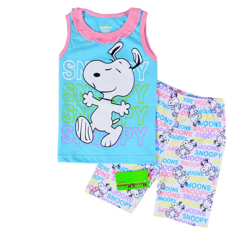 Retail Children Clothing Girls Sleepwear Pajamas Baby Girl Sleepwear Kids Clothing Set Summer 2016(China (Mainland))