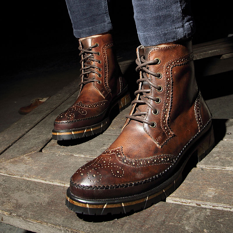 British Retro Brown Cowhide Genuine Leather Martin Ankle Boots Military Men Boots Motorbike Boots