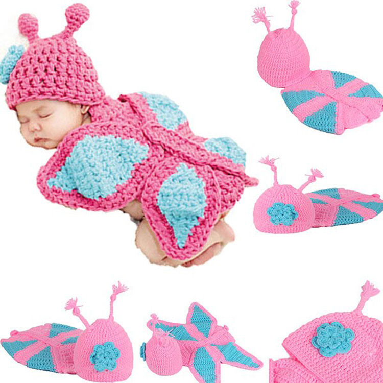 Baby Girl Butterfly Photography Props Baby Crochet Aminal Beanie Hats Toddler Costume Set Handmade Children Hat 1set MZS-026(China (Mainland))