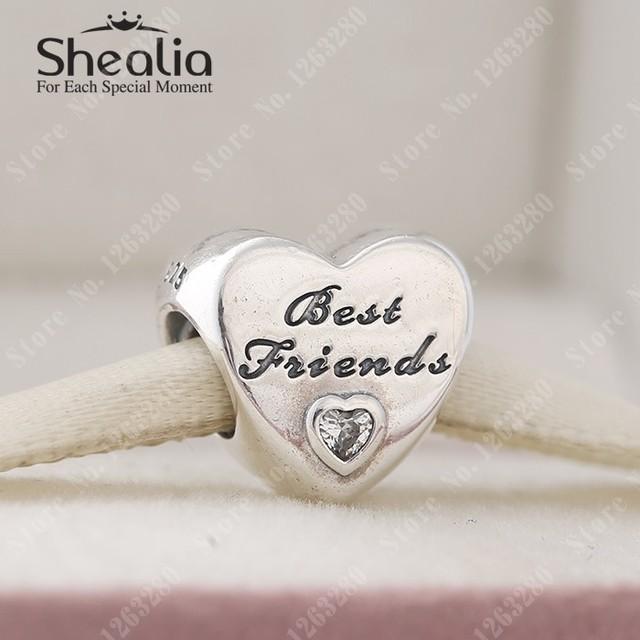 Подвески 2015 осенью новый лучшие друзья любят в форме сердца с четкими CZ оригинал 925 прекрасно Shealia ювелирные изделия подходящее DIY браслеты