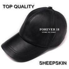 Hot selling gorras hombre snapback 2015 new winter Sheepskin hat genuine leather warm adjustable sport baseball cap for man caps(China (Mainland))