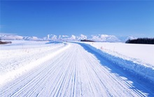 Customs Size Outdoor Snowy Vinyl Photography Backdrops Photo Studio Romantic Backgrounds Snow Blue Sky Road For Wedding