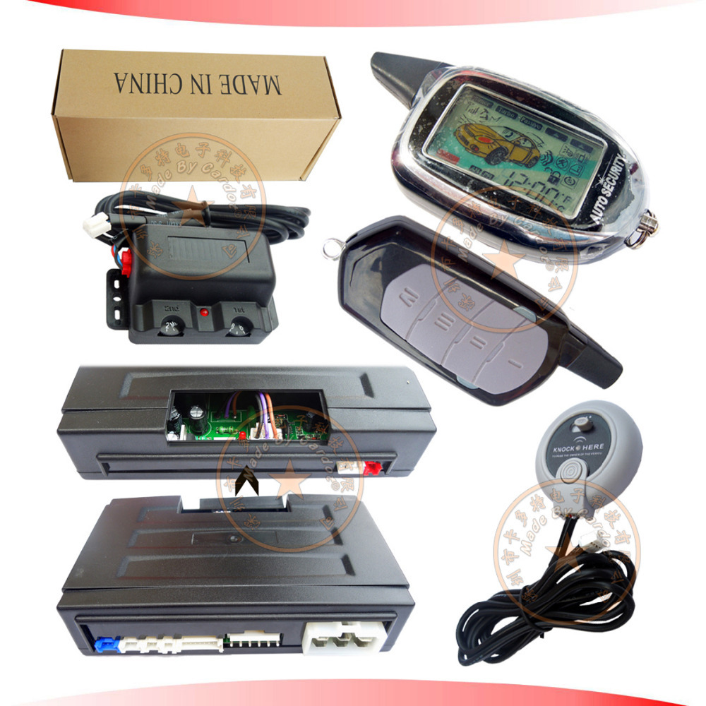 two way car security system is with long distance LCD remotes,vibration and light alarm,auto keyless entry,auto central lock(China (Mainland))