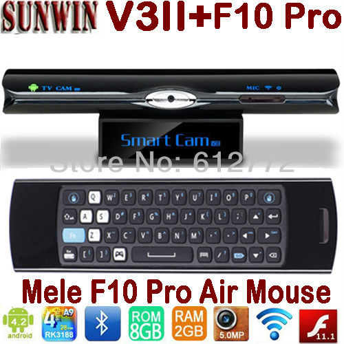 Sunvell V3ii RK3188 Quad Core TV Box 2GB 8GB 5.0MP Camera MIC Bluetooth WIFI DLNA Skype + Mele F10 Pro Air Mouse Keyboard(China (Mainland))
