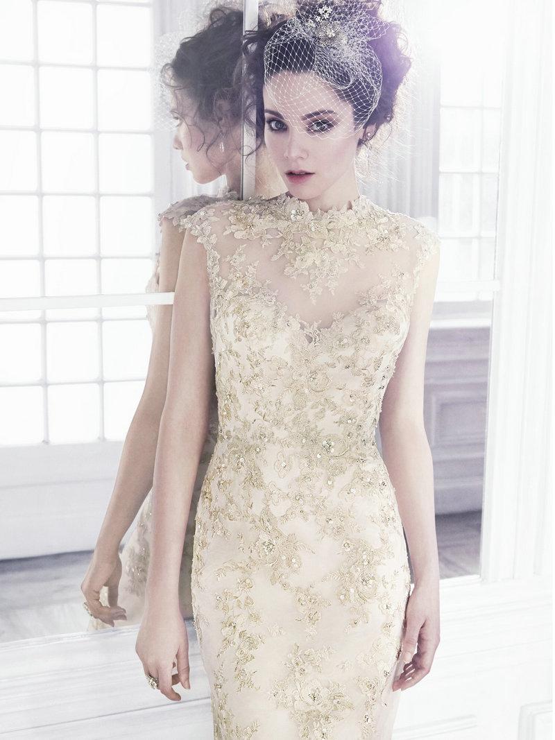 Turmec sleeveless high neck lace wedding dress for Wedding dress high neck