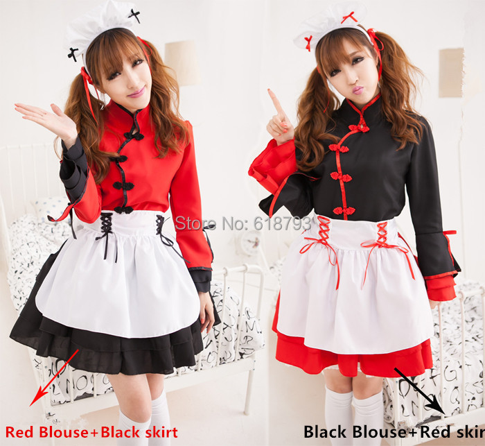 Japanese Kimono/Chinese Lolita Style Maidservant Waitress cosplay costumes Fancy dress free shipping(China (Mainland))