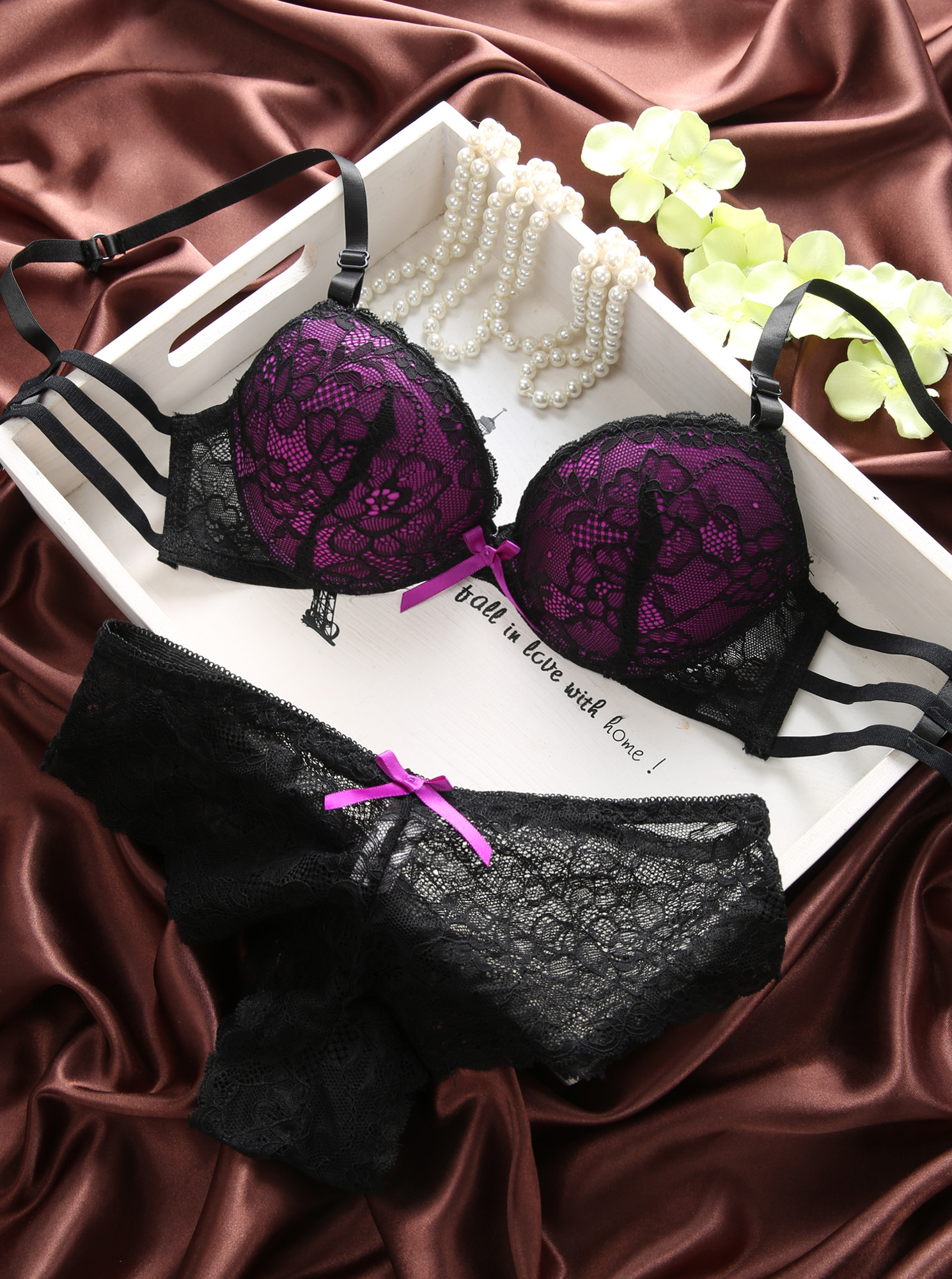 New arrival 2016 double breasted cutout sexy thin bra underwear female set young girl lace bra set