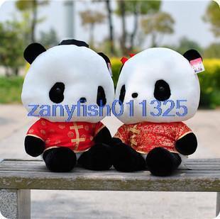 Tang suit panda plush toys wedding couple doll toy gift 50cm for boy(China (Mainland))