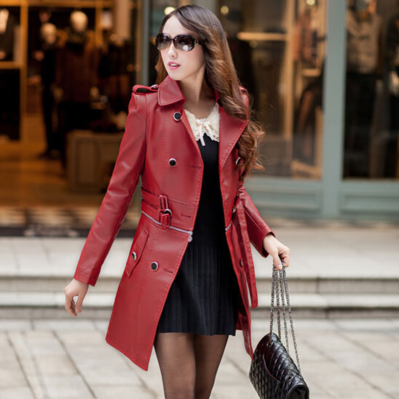 Long Leather Jacket For Women - Jacket