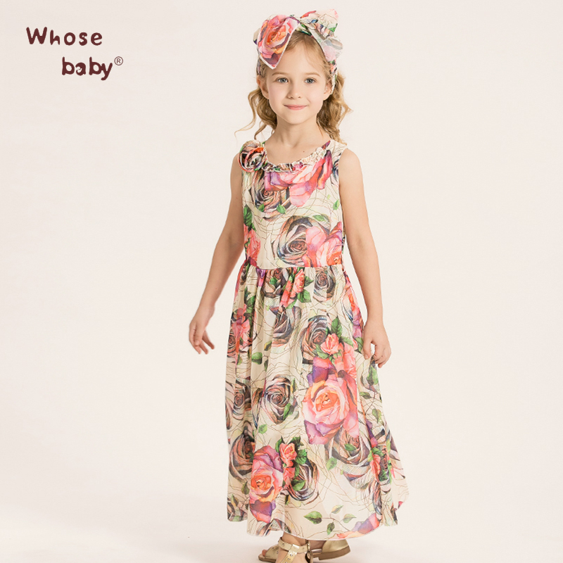 Whosebaby Chiffon Children Dresses Floral Sleeveless Bohemian Sashes Ankle-Length Polyester Good Girl Causal Dresses(China (Mainland))
