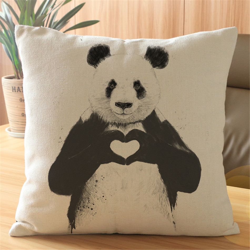 Pop Style Painting Pillow Case Vintage Linen Pillow Cushion Cover Throw Decorative Cushion Covers Cute Panda