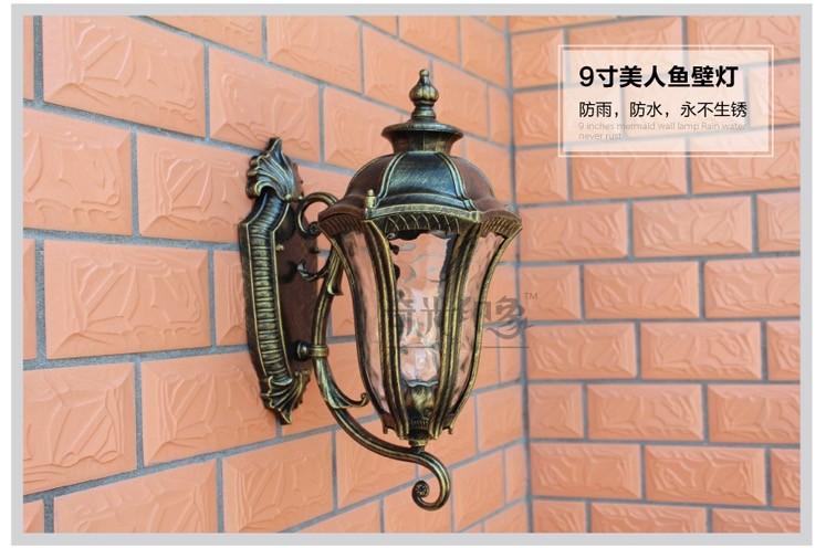 Купить Американский ретро Русалка крыльцо наружного освещения бронзовый цвет rustproof aluminum made E27 оправа лампы наружные настенные светильники