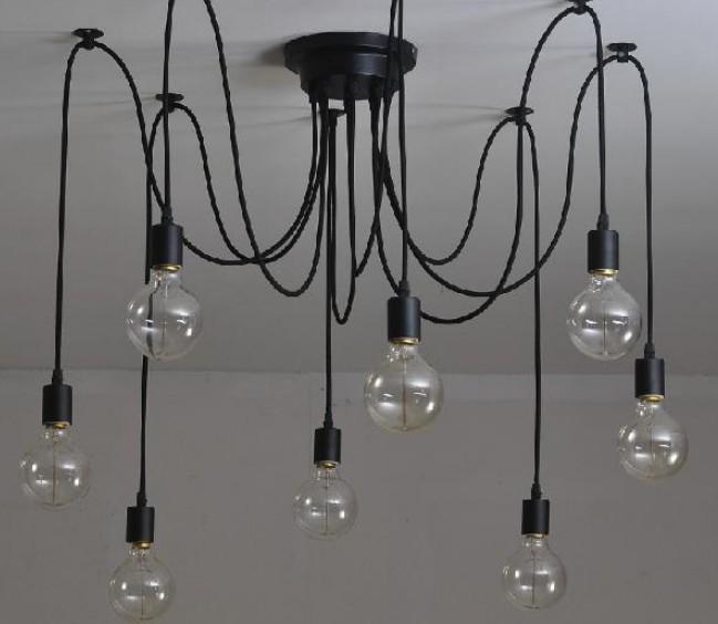 Compre Clásico Antiguo Edison Araña Vintage E27 Lámpara Colgante ...