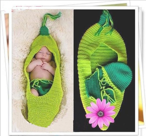 0-6months Baby Infant Toddler Bean Photo Photography Costume Prop Newborn Green Memory New()