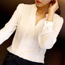 Buy High New Casual White Women Blouse Ladies Solid Elegant V-neck Blouses Long Sleeve OL Office Shirt Plus Size for $4.21 in AliExpress store