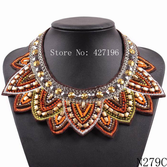 August new design 2016 fashion wood bead jewelry vintage choker collar necklace for women free shipping(China (Mainland))