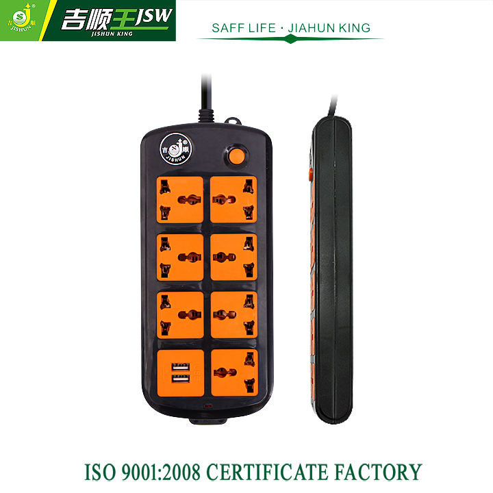 Retail 7 Outlets Electrical Extension Socket AC 250V USB Power Strip Universal Outlet Standard Grounding 1.8M Cable JSW-111KU(China (Mainland))