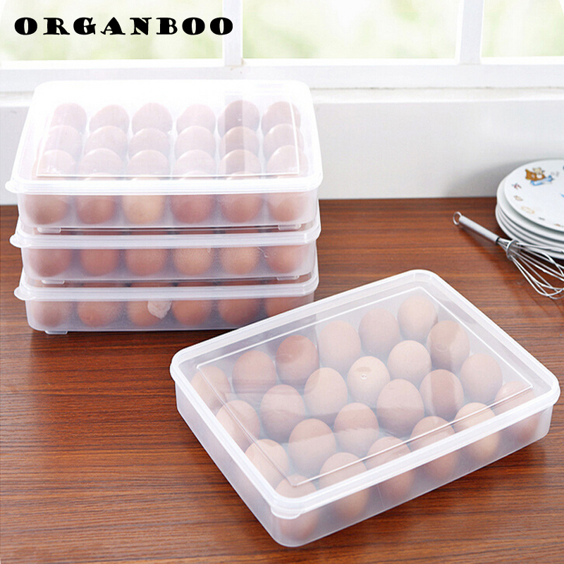 large capacity portable home picnic kitchen refrigerator egg box food fresh storage box plastic box case 24 holder(China (Mainland))