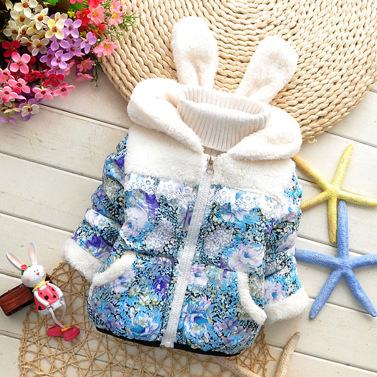 2015 girls warm coat baby winter long sleeve flower jacket children cotton padded clothes kids christmas