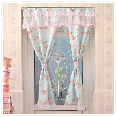 lace curtains elegant blue based vintage floral home goods curtains