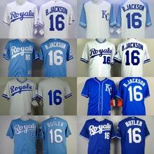 Kansas City Royals #16 Bo Jackson Jersey Throwback Baseball Jerseys Embroidered Logo Free Shipping(China (Mainland))