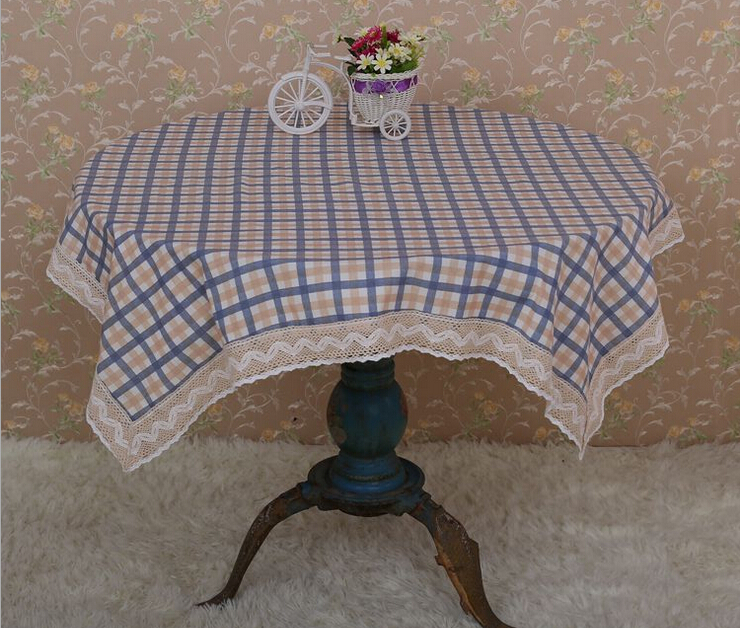 Hot Classic Plaind Table Cloth Round Cotton Linen Round Tablecloth Square Blue Red Table Cover For Coffee Tea Desk(China (Mainland))
