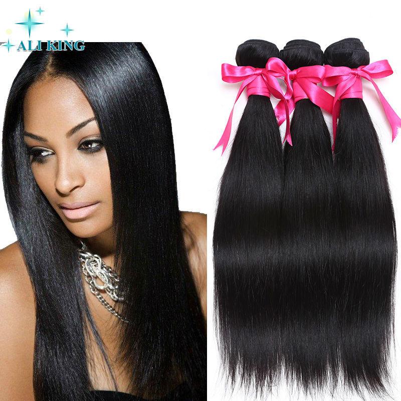 Factory Direct Brazilian Virgin Hair Straight Ali King Brazilian Hair Weave Bundles Natural Black Hot Selling 100% Human Hair<br><br>Aliexpress