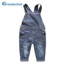Grandwish Autumn Children Denim Jumpsuits Boys Overalls Kids Velvet Jeans Pants Girls Casual Jeans Pants 24M-10T, SC357(China (Mainland))