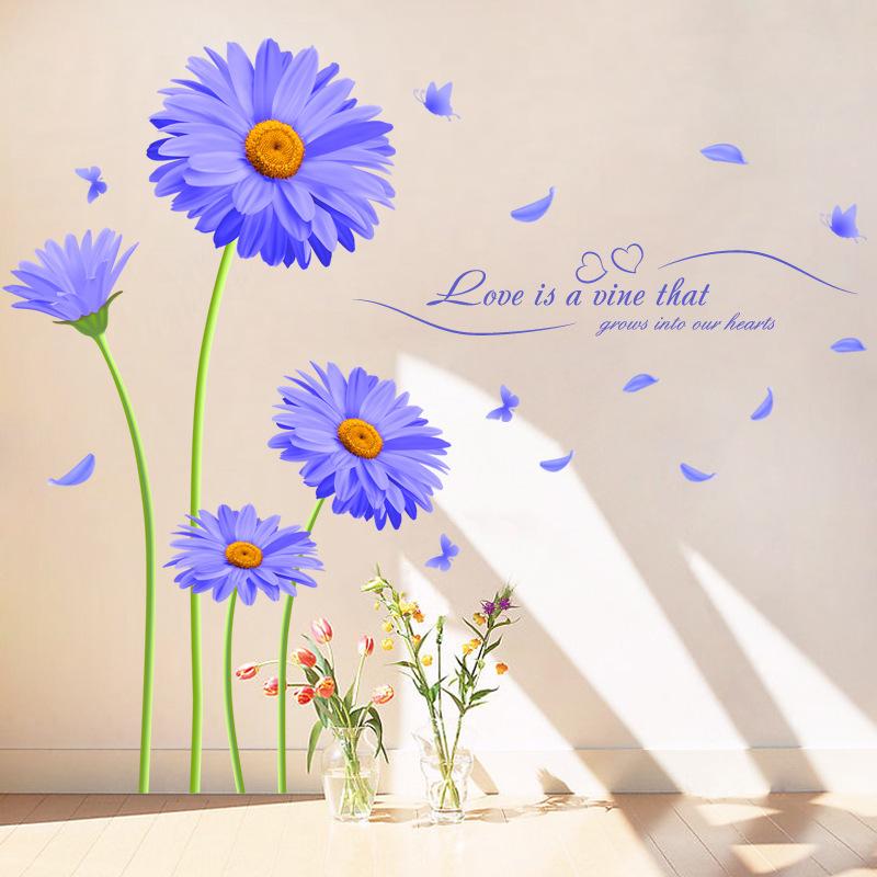 Aster Novi Belgii Purple Chrysanthemum Diy Wall Stickers Living Room Tv Sofa Backdrop Decor